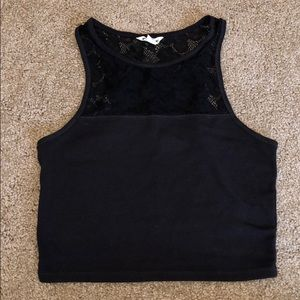 Aeropostale Black Crop Top with Lace Detail